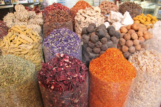 Dubai Spice Souk: dried herbs,fruits, flowers