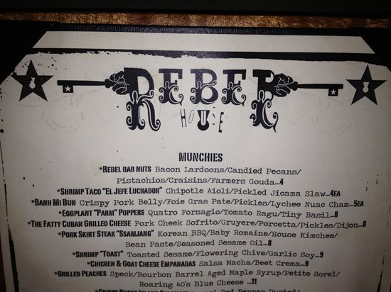 The Rebel House: menu