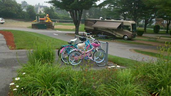 Wells Beach Resort Campground: The kids loved being able to ride their bikes to the pool.  Playground in background.