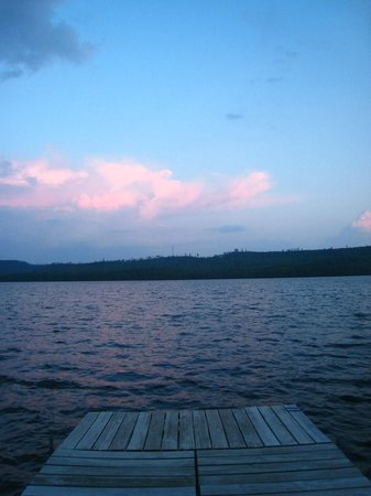 View of the sunset from one of the docks at Cross River Lodge