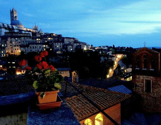 Albergo Bernini: View from the veranda at night.
