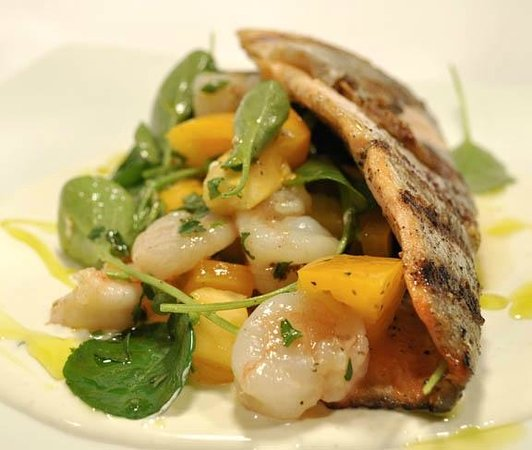 Blue Plate: Ruby trout with smoked Maine Bay scallop & watercress