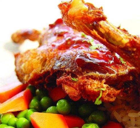 Blue Plate: Slow-roasted crispy duck with lingonberry glaze