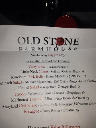 Old Stone Farmhouse: Birthday restaurant...