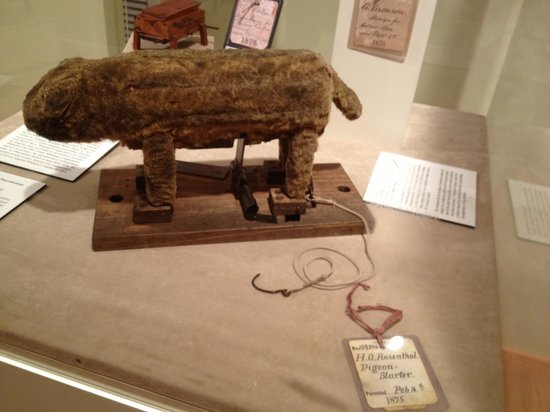 Historic Arkansas Museum: Pigeon starter has a patent--it's a fake cat