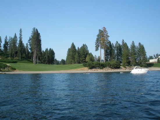 The Coeur d'Alene Resort: golf course pool/beach to the R of pic