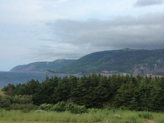 Pilot Whale Chalets: View of the Cabot Trail from the porch.