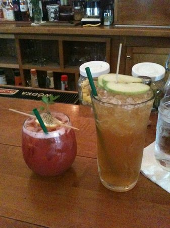 Liquids and Solids at the handlebar: Vodka Balsamic Fizz (L) & Maple Spice (R)