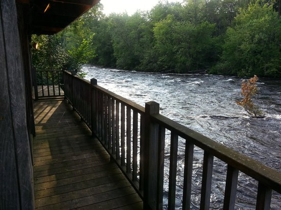 View of the Schroon River rapids from the screened porch of the Grist Mill on the Schroon Restau