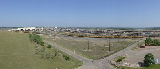 Golden Spike Tower and Visitor Center: Panoramic view of the train yard