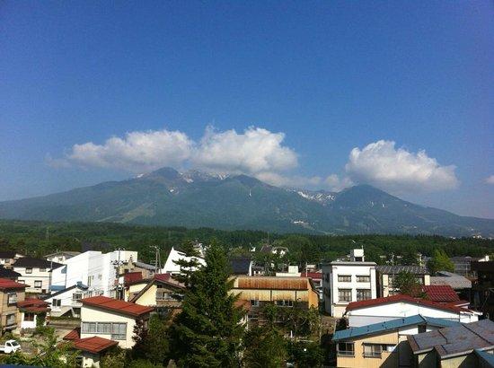 Myoko Hotel: 眺望の良い最上階食堂からの眺め。