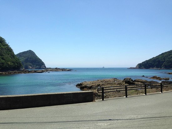 Shimoda Tokyu Hotel: View from the bottom of the hotel driveway of the cove