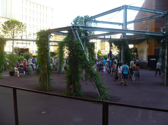 Novotel Suites Perpignan Mediterranée : Plaza in front, with small music festival in full swing.