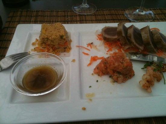 Le Silex : Tataki thon, tartare saumon et gambas