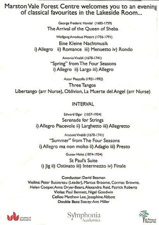 The Forest of Marston Vale - Forest Centre: Programme of music played at Symphonia at Sunset 6 July 2013