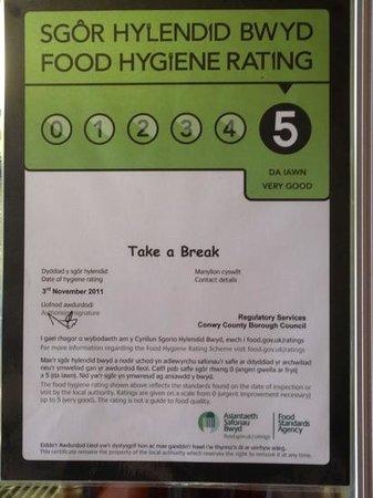 Take A Break Cafe: Awarded 5 food hygiene rating