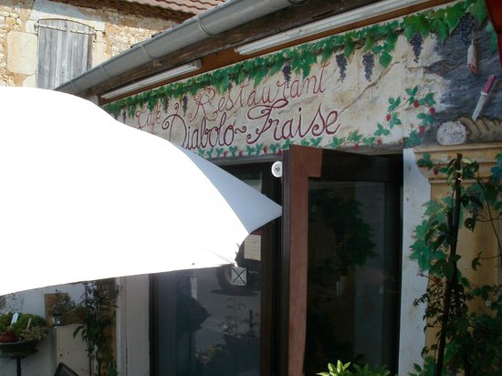 Diabolo Fraise: The name of the café-restaurant above the entrance.