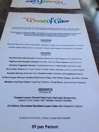 Carthay Circle Restaurant World Of Color Menu
