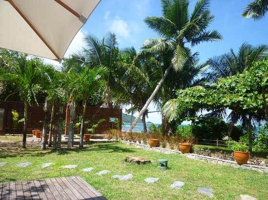 Dhevatara Beach Hotel: Jardin vue sur la mer