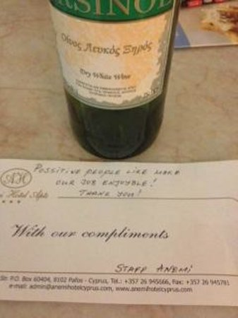 Anemi Hotel Apartments: Complimentary bottle of wine from the amazing Anemi staff - thank you!