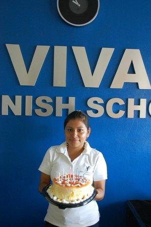 "Viva Spanish School: ""Feliz Cumpleanos"" to Raquel, one of our excellent teachers"