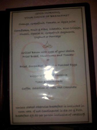 Queenswood Hotel: breakfast menu