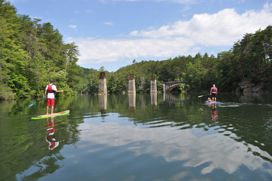 Southern Water Trails: Approaching the historic rail trestle pilings and Old US 441 bridge on Terrora Lake in Tallulah
