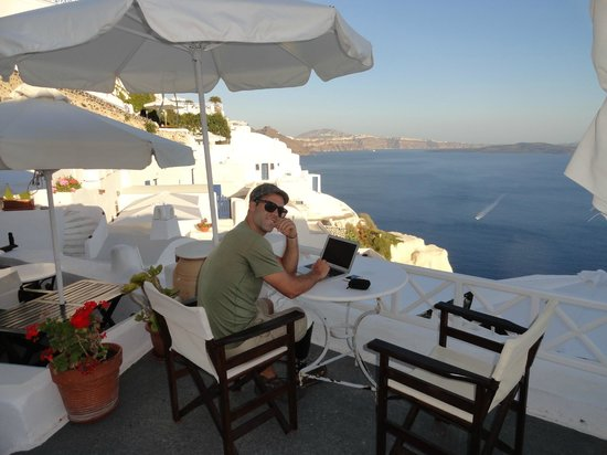 Alexander's Boutique Hotel of Oia: gorgeous office view!