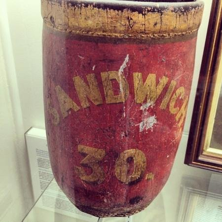 Sandwich Glass Museum: old Sandwich leather fire bucket!