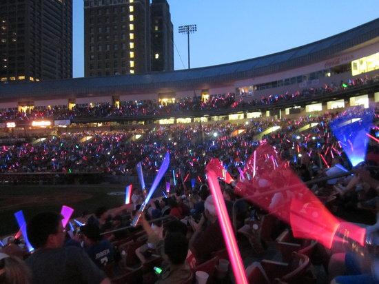 Coca-Cola Field: Thousands of glow in the dark swords!