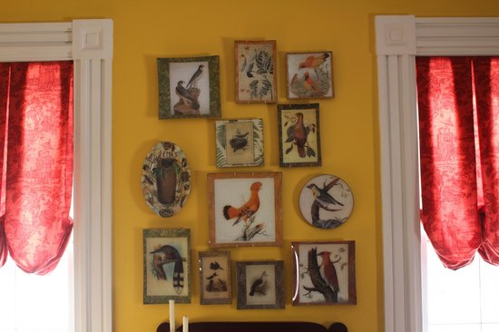 Brambles Inn and Gardens: A collection of reverse decoupage adorns the front Living Room