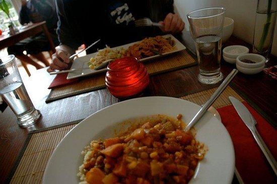The Bean Inn Vegetarian Restaurant: Thai red curry and a Moroccan casserole