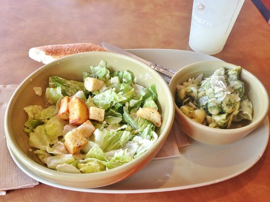 Panera Bread: Caesar salad and Pesto Sacchettini