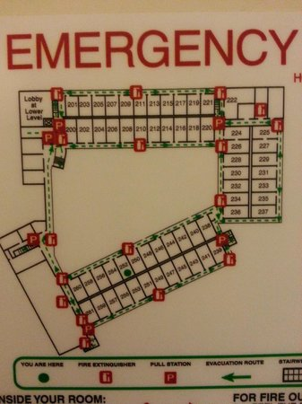 Holiday Inn Hazlet: Hotel Layout. Green line is the corridors.