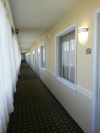 Holiday Inn Hazlet: Corridor, showing room entry and room window. Main window on Left hand side