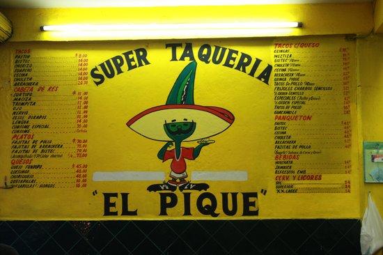 Taqueria El Pique: The menu