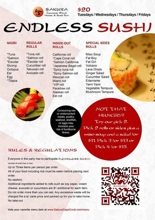 Sakura Japanese Steak House & Sushi Bar: Our lunch Menu