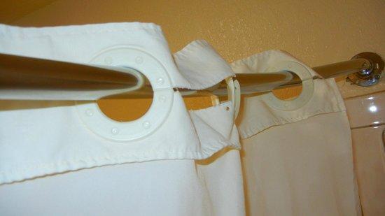 Park Vue Inn: torn shower curtain