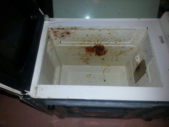Hacienda Motel: This is the Microwave after I had been scrubbing for a few mins