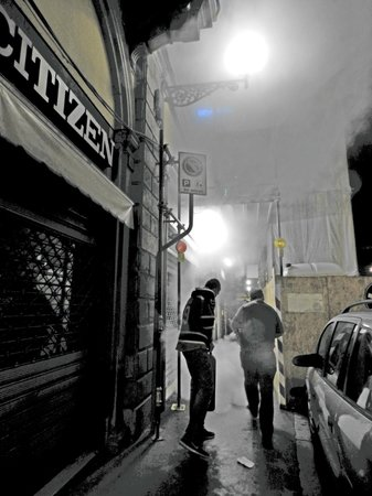Hotel Cosimo de' Medici : My dad and brother fighting the fire