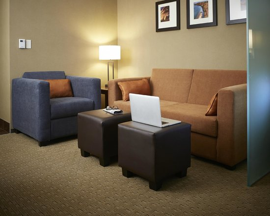 Comfort Suites Saskatoon: Living Area with Sofabed, lounge chair and ottamans