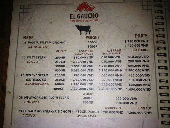 El Gaucho - Argentinian Steakhouse: The Steak Menu