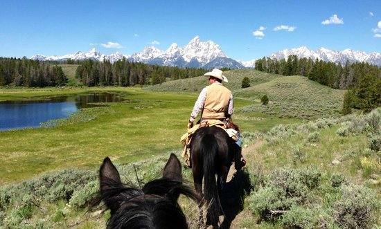Triangle X Ranch: Riding near the Tetons