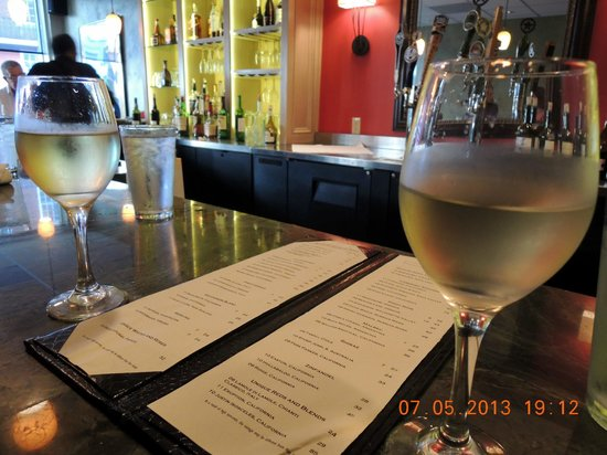 Bistro on Main: Sharing a bottle of Riesling at the bar
