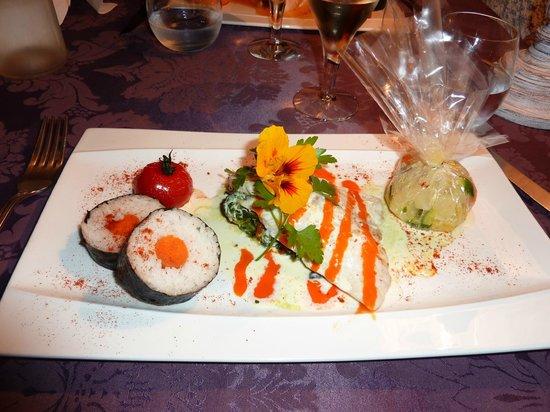 La Table Du Moulin : Sea bream (vegetables in plastic bag)
