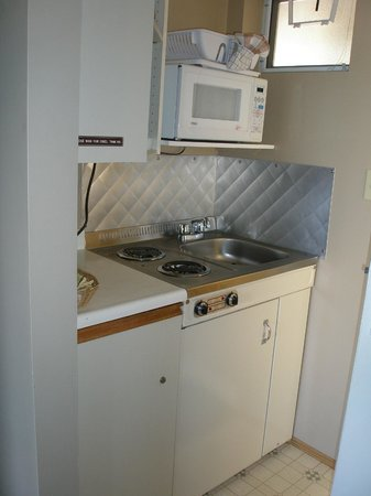 Whiskey Point Resort: 電熱式のキッチンはコンロの下が冷蔵庫