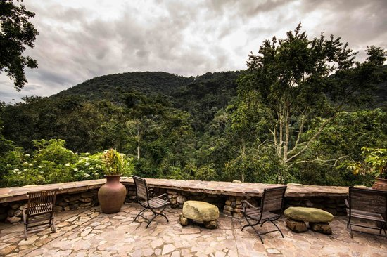 View of Bwindi Impenetrable Forest from the recently extended veranda at Bwindi Lodge