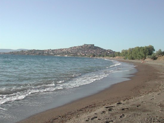 Delfinia Hotel & Bungalows: 1 km long sand and pebble beach