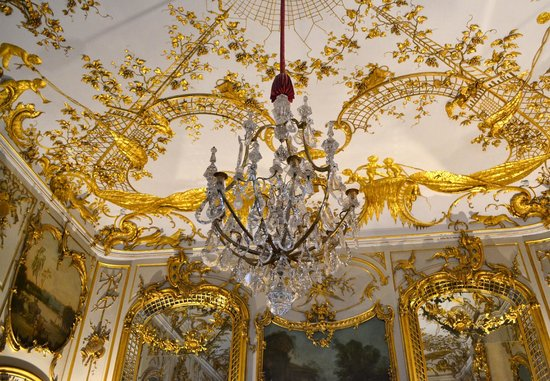 Ornate chandelier and ceiling in the schloss picture of sanssouci sanssouci palace ornate chandelier and ceiling in the schloss aloadofball Choice Image