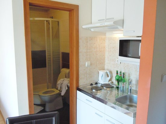 Aparthotel Stipe: The kitchen area and bathroom